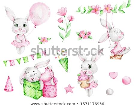 baby girl smiling dress in pink with white fur Stock photo © lunamarina