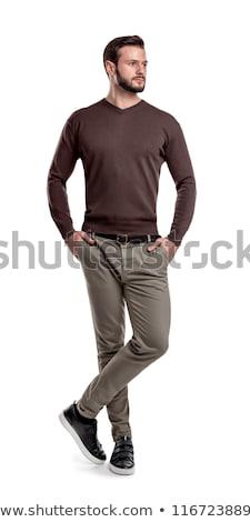 aantrekkelijk · jonge · man · hoed · zonnebril · witte - stockfoto © feedough