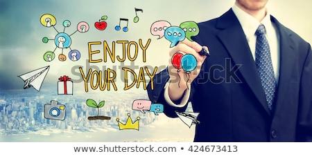 üzletember · levél · ül · asztal · ikon · kéz - stock fotó © feedough