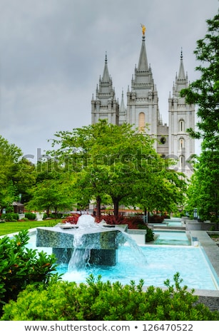 Fountain in front of the Mormons' Temple in Salt Lake City, UT Stock photo © AndreyKr