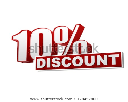 10 percentages discount red white banner   letters and block stock photo © marinini