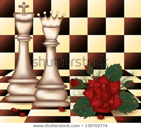White Chess Queen and King with red rose  vector illustration Stock photo © carodi