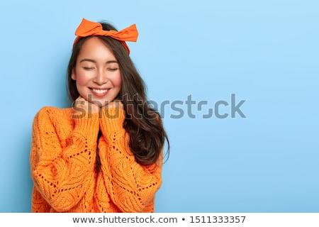portret · nieśmiała · cute · młoda · kobieta · blond · włosy · biały - zdjęcia stock © iko