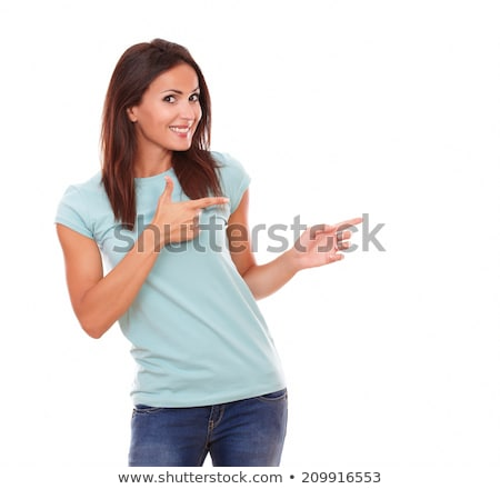 genç · kadın · bakıyor · işaret · mavi · gömlek · yalıtılmış - stok fotoğraf © pablocalvog