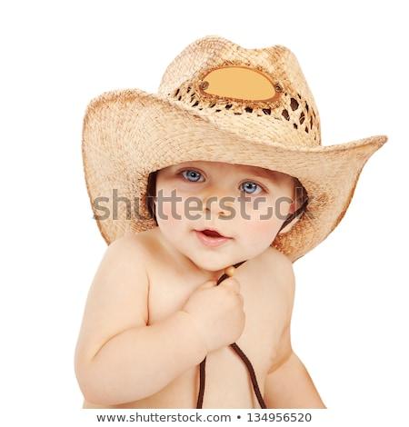 мало · мальчика · ковбойской · шляпе · белый · весело - Сток-фото © anna_om