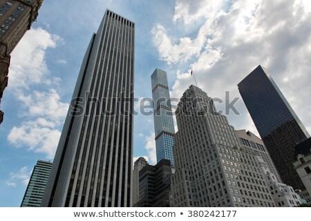 Alulról fotózva NY felhőkarcolók alacsony széles látószögű kilátás Stock fotó © eldadcarin