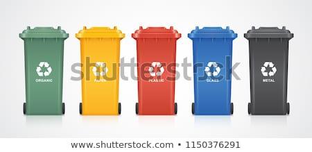 Reciclagem três fora casa parede verde Foto stock © trgowanlock
