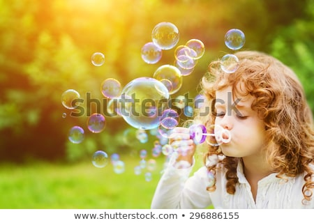 Grappig meisje zeepbellen vector gelukkig Stockfoto © balasoiu