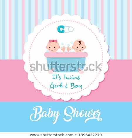 bebek · ikizler · duş · kart · sevmek · mutlu - stok fotoğraf © balasoiu