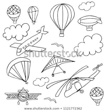 Vliegtuig parachute luchtballon helikopter illustratie propeller Stockfoto © patrimonio
