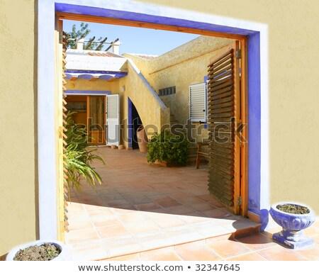 orange · bleu · colonial · mur · espagnol - photo stock © lunamarina