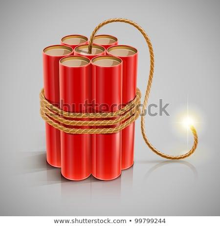 explosive dynamite with a burning fuse vector illustration Stock photo © konturvid