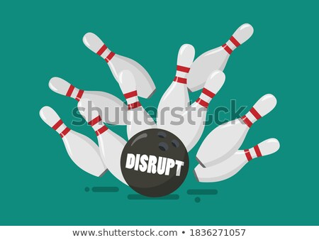 Recession Bowling Ball and Money Pins Stock photo © iqoncept