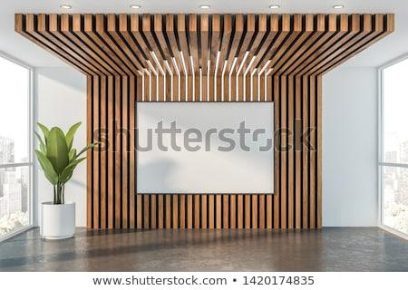 Houten plafond roze muur klein kamer Stockfoto © deyangeorgiev