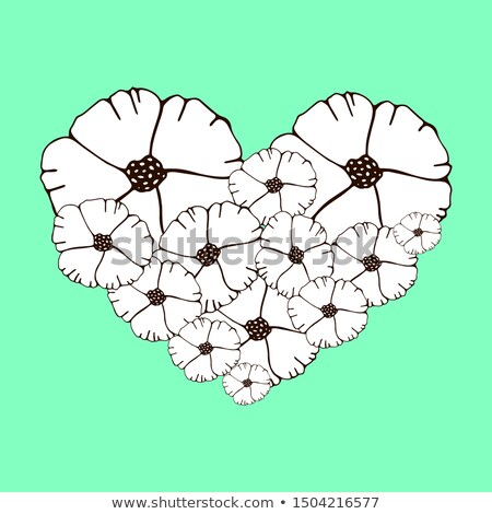 abstract st valentine card with flowers heart shapes and circle stock photo © wad