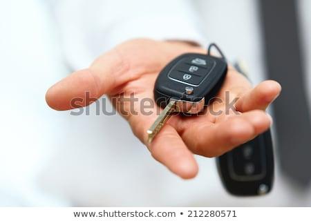 手 リモート 車のキー 孤立した 白 ストックフォト © neirfy