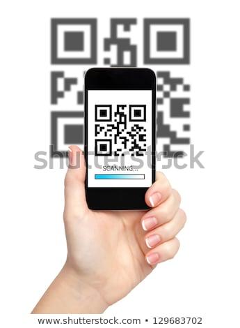 Qr code smartphone gestreept icon Rood Blauw Stockfoto © tashatuvango