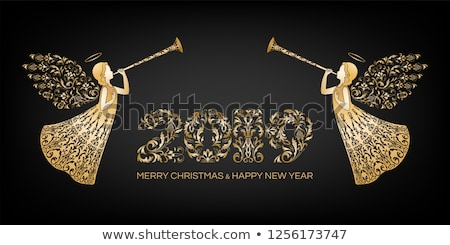 Stock photo: Two angels wishing Merry Christmas, vector