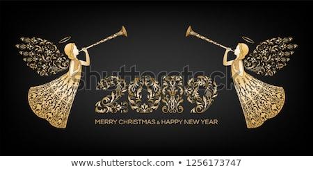 Deux anges joyeux Noël vecteur Photo stock © kidesign