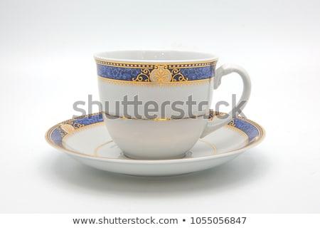 Vide céramique tasse soucoupe gris fond Photo stock © RuslanOmega