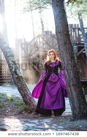 elven wood princess with bow and arrow Stock photo © godfer