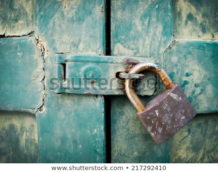 padlock on a rusty steel plate stock photo © reddaxluma