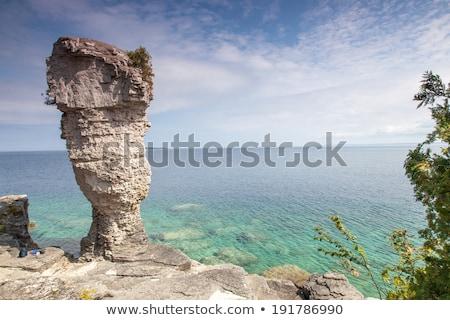 kő · egyenetlen · tó · part · hang · Ontario - stock fotó © bmonteny