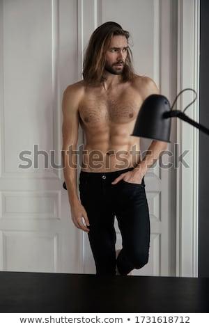 Szexi törzs feketefehér férfi meztelen test Stock fotó © stryjek