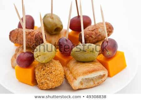 Party snacks. Mini sausage rolls, olives, scotch eggs, cheese an Stock photo © raphotos
