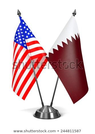 USA Qatar miniatura bandiere isolato bianco Foto d'archivio © tashatuvango