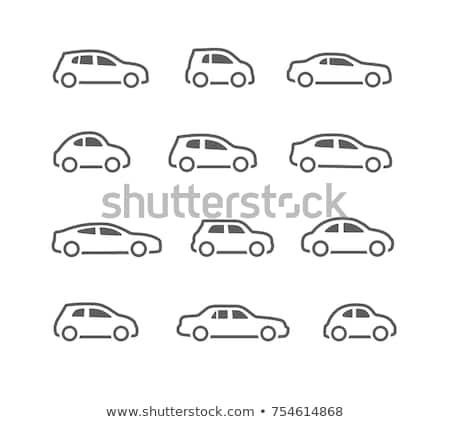 Suv carro ícone preto isolado branco Foto stock © compuinfoto