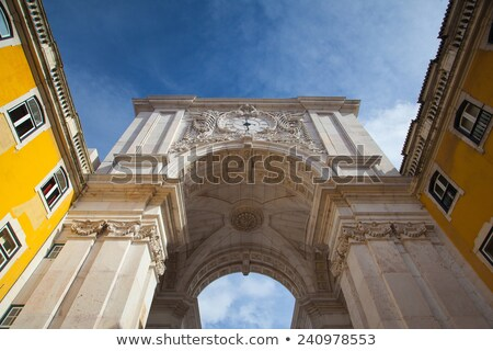 The Rua Augusta Arch in Lisbon. Here are the sculptures made of  Stock photo © CaptureLight
