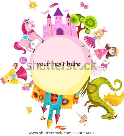 Little princess and dragon, vector illustration Stock photo © carodi