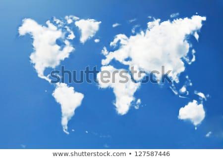 Dünya haritası mavi bulut gökyüzü beyaz dizayn Stok fotoğraf © olgaaltunina