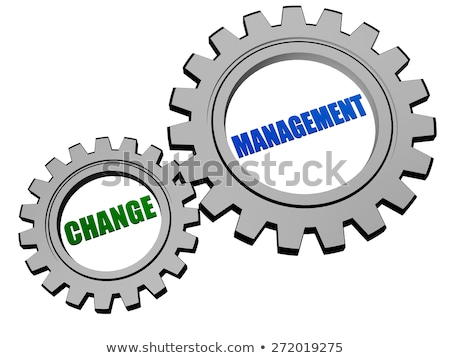 Stock photo: change management in silver grey gears