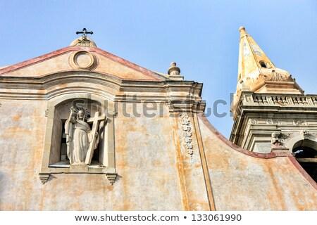 Chiesa sicilia Italia vecchio cross cielo blu Foto d'archivio © ankarb