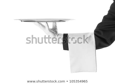 Waiter hand with tray and towel. Stock photo © TarikVision