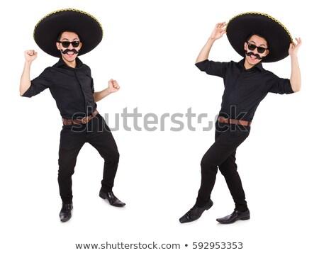 komik · Meksika · geniş · kenarlı · şapka · şapka · çiçekler · düğün - stok fotoğraf © elnur