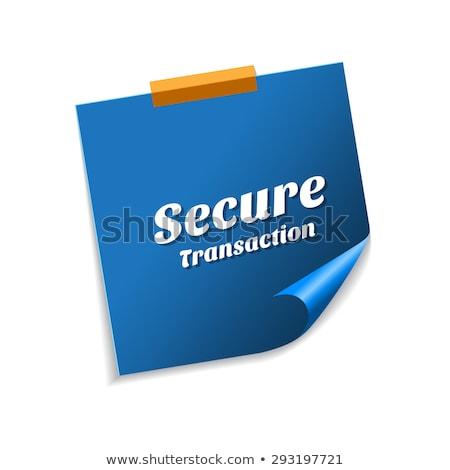 Sicher Transaktion blau Haftnotizen Vektor Symbol Stock foto © rizwanali3d