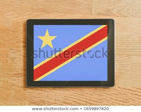 Tabletta demokratikus köztársaság Kongó zászló kép Stock fotó © tang90246