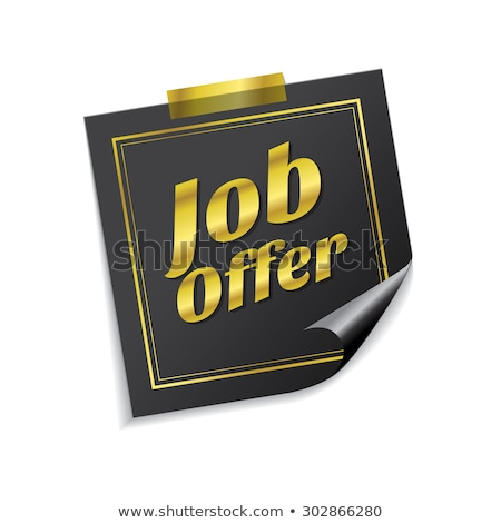 job offer golden sticky notes vector icon design stock photo © rizwanali3d