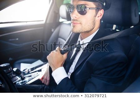 Férfi sofőr lovaglás autó portré jóképű Stock fotó © deandrobot