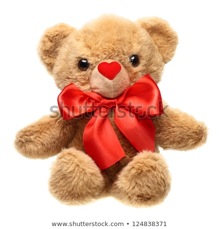 furry bear with a red bow and red heart stock photo © geniuskp