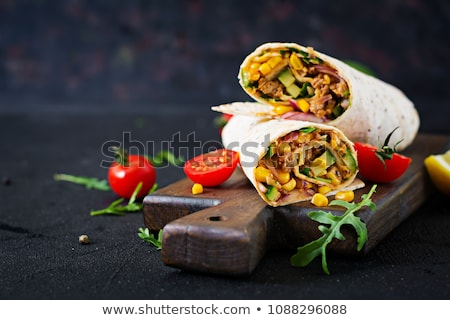 buğday · un · tortilla · etrafında · doldurma · gıda - stok fotoğraf © Digifoodstock