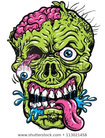 лысые зомби Cartoon зеленый кожи череп Сток-фото © blamb
