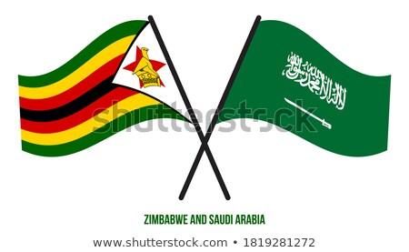 Szaúd-Arábia Zimbabwe zászlók puzzle izolált fehér Stock fotó © Istanbul2009