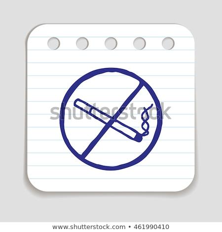 doodle · verbod · icon · Blauw · pen - stockfoto © pakete
