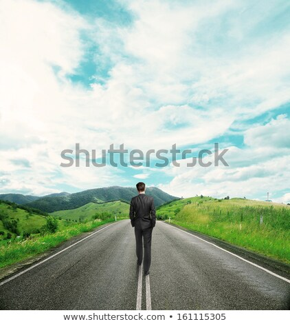 Businessman walking on the meadow Stock photo © Paha_L