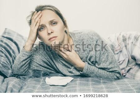 Mulher garganta dor olhando câmera branco Foto stock © wavebreak_media