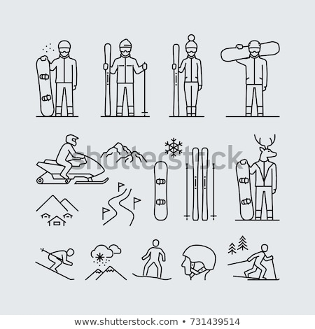 Man snowboarding line icon. Stock photo © RAStudio